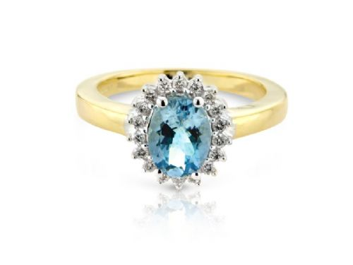 Yellow gold aquamarine and diamond cluster ring